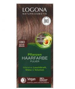 LOGONA Prášková BIO farba na vlasy prírodná hnedá bez chémie, VEGAN na hnedé vlasy, ktorá vlasy neničí, ale vyživuje, farbí a chráni. Vytvára ochranný film