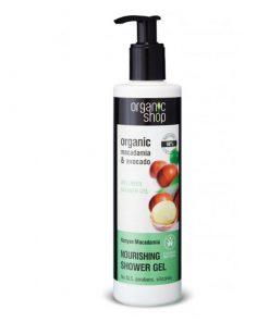 Prírodný sprchový gél makadamia, avokádo. Prírodná kozmetika, certifikovaná bez parabénov, silikónov, SLS a iných syntetických látok. Zjemňuje pokožku