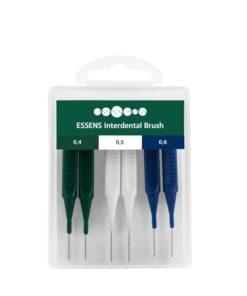 Medzizubné kefky sada 6ks vo veľkostiach 0,4 mm, 0,5 mm a 0,6 mm. Odstraňujú zubný povlak z medzizubných priestorov, ktorý bežná zubná kefka neodstráni