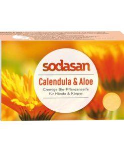 BIO pleťové mydlo Cream nechtík, aloe, tuhé mydlo na telo. Biokozmetika. Prírodné mydlo na tvár a telo s bambuckým maslom, bez sulfátov a farbív