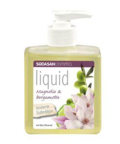 BIO tekuté mydlo Magnólia, Bergamot, Oliva, vyrobené z BIO mydla, vhodné pre celú rodinu, bez farbív a tenzidov s prírodnou vôňou éterických olejov