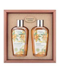 Darčeková kazeta Argan Bohemia Herbs s kvalitným argánovým olejom. Balenie obsahuje krémový sprchový gél a jemný šampón pre jednoduchšie rozčesávanie vlasov