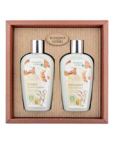 Darčeková kazeta Kozie mlieko Bohemia Herbs - prírodná kozmetika s včelím medom a kozím mliekom. Balenie obsahuje krémový sprchový gél a jemný šampón