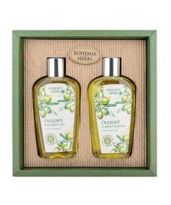 Darčeková kazeta Oliva Bohemia Herbs - prírodná kozmetika s olivovým, hroznovým olejom. Balenie obsahuje krémový sprchový gél a jemný šampón
