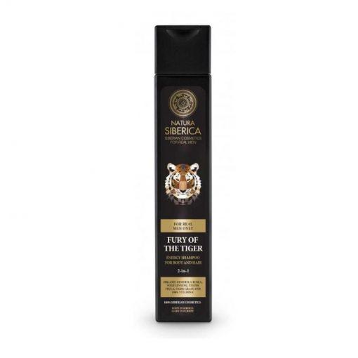Zúrivosť tigra 2v1 šampón a sprchový gél - prírodný sprchový gél. Prírodná kozmetika pre muža, certifikovaná bez parabénov, silikónov