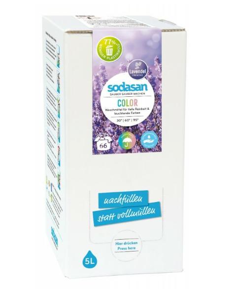 Eko prací gel COLOR Levanduľa - tekutý prací prostriedok SODASAN na farebné prádlo s BIO esenciálnymi olejmi. EKO pranie. Nízka spotreba - vysoký účinok