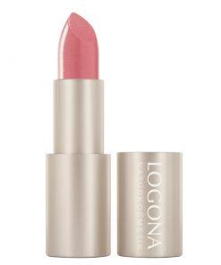 BIO rúž na pery 02 Blossom Logona. Prírodná BIO dekoratívna kozmetika, intenzívna farba. Vyživuje pery, trvácny rúž na pery. Pre pekné, hodvábne jemné pery