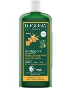 BIO regeneračný šampón Rakytník LOGONA na poškodené vlasy. Bio vlasová kozmetika, vegánska. Vyhladzuje poškodenú štruktúru vlasov, zabraňuje poškodeniu