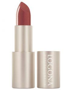 BIO rúž na pery 01 Copper Logona. Prírodná BIO dekoratívna kozmetika, intenzívna farba. Vyživuje pery, trvácny rúž na pery. Pre pekné, hodvábne jemné pery