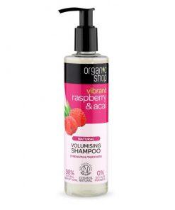 Prírodný šampón Malina & acai. Čisto prírodná kozmetika. 98% prírodných zložiek. Zanechá vlasy viditeľne silnejšie a objemnejšie. Bez silikónov a SLS, SLES