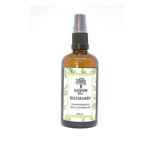 Telový masážny olej Rozmarín prírodný - čisto prírodná kozmetika zo Slovenska. Na unavenú pokožku, poruchy prekrvenia, studené končatiny a oslabené väzivo
