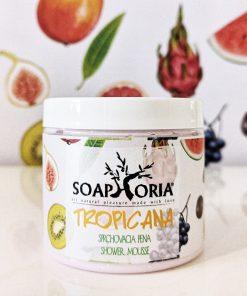 Prírodná sprchovacia pena Tropicana, čistá prírodná kozmetika pre ženy na suchú a podráždenú pokožku, obsahuje hroznový, kokosový a marhuľový olej.