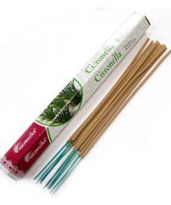 Vonné tyčinky Citronella podľa tradičnej ajurvédskej receptúry v Indii. Pri výrobe sa používa iba prírodný prášok z dreva, práškové kadidlo, živice ...