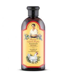 Agafja šampón na báze vaječného žĺtka. Lecitín obsiahnutý v žĺtku prispieva k celkovej regenerácii vlasov. Posilňuje, vyživuje vlasy a stimuluje ich rast