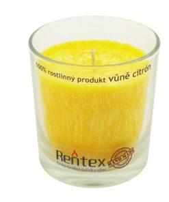 Palmová sviečka citrón v skle - HAND MADE. Doba horenia 40 hodín, balené darčekovo v celofáne s lykom. Vonná esencia citron, 100% palmový vosk