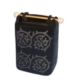 Aromalampa čierna, keramická, ručne zdobená, 2 - dielna. Moderný, elegantný bytový doplnok. Vhodný aj ako dekorácia do kúpeľne. Pre použitie vonnych voskov