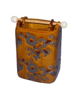 Aromalampa zlatohnedá, keramická, ručne zdobená, 2-dielna. Moderný, elegantný bytový doplnok. Vhodný ako dekorácia do kúpeľne. Pre použitie vonnych voskov