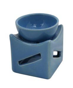 Aromalampa modrá hranatá malá keramická s extra hlbokou miskou, je vhodná ako darček pre ženu i muža. Elegantný moderný bytový doplnok