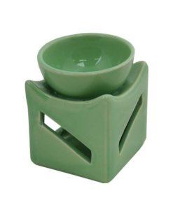 Aromalampa zelená hranatá malá keramická s extra hlbokou miskou, je vhodná ako darček pre ženu i muža. Elegantný moderný bytový doplnok