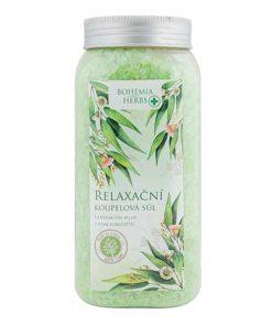 Relaxačná kúpeľová soľ Eukalypt s obsahom extraktov zo žihľavy dvojdomej, rumančeka pravého, brezy bielej, nechtíka lekárskeho a šalvie lekárskej.