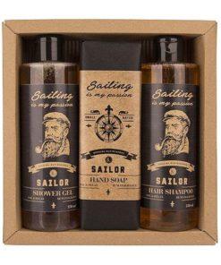 Darčeková kazeta SAILOR - originálny darček pre muža. Sprchový gél, šampón, toaletné mydlo s výťažkom z pivných kvasníc a chmeľu. Prírodná kozmetika