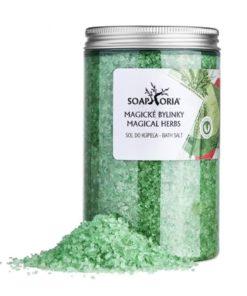 Kúpeľová soľ Magické bylinky. Slovenská prírodná kozmetika s organickými esenciálnymi olejmi zo 7 bylín. Bez chémie. Zero waste. 100% prírodná