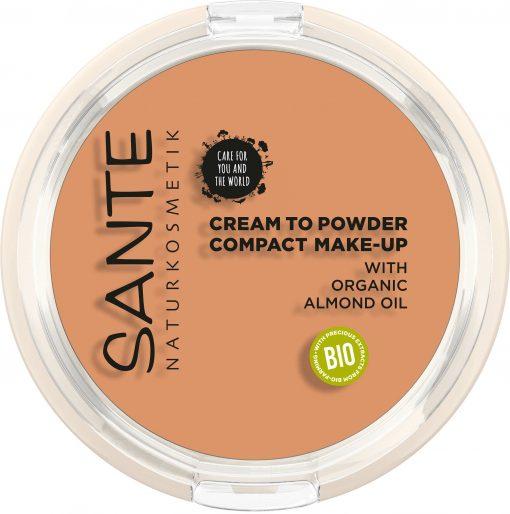 BIO kompaktný make up 03 Cool Beige SANTE - vysoké krytie s mandľovým olejom. 100% čisto bio kozmetika. Poskytuje pleti dlhotrvajúcu hydratáciu.