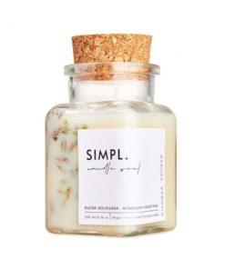 Eko sviečka SIMPL pivonka-púpava - prírodná rastlinná sviečka. Nevšedné vonné esencie a kúsok prírody. Ručne odlievaná sviečka z rastlinných voskov