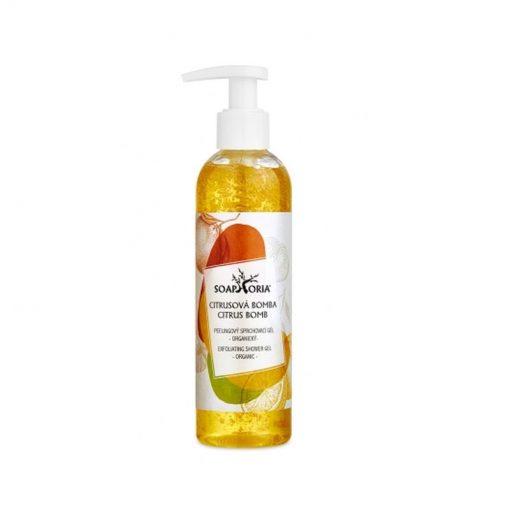 Peelingový prírodný sprchový gél Citrusová bomba, 100% organický sprchový gél. Prírodná kozmetika bez chémie, bez sulfátov. Vegánska kozmetika