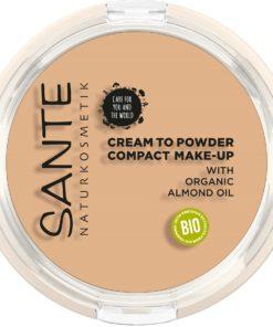 BIO kompaktný make up 02 Warm meadow SANTE - vysoké krytie s mandľovým olejom. 100% čisto bio kozmetika. Poskytuje pleti dlhotrvajúcu hydratáciu.
