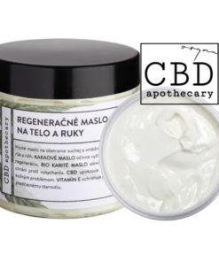 Regeneračné maslo na telo a tvár CBD 100% prírodná slovenská konopná kozmetika. Na extrémne citlivú pleť, ekzém, seboreu, suchú a šupinatú pleť
