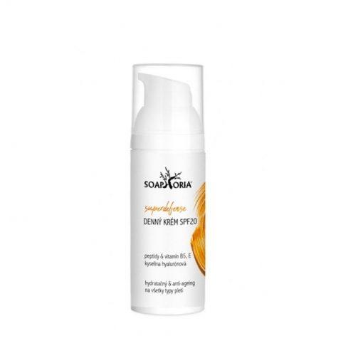 Superdefense denný krém SPF 20 - slovenská prírodná kozmetika s kyselinou hyalurónovovu, vitamínom E, B5 ( panthenol) so strednou ochranou SPF 20. Najlepšia čisto prírodná kozmetika na tvár.