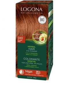 BIO farba na vlasy ohnivo červena prášková bez chémie LOGONA bez chémie na blond až hnedé vlasy, ktorá neničí, ale vyživuje, farbí a chráni. 100% rastlinná