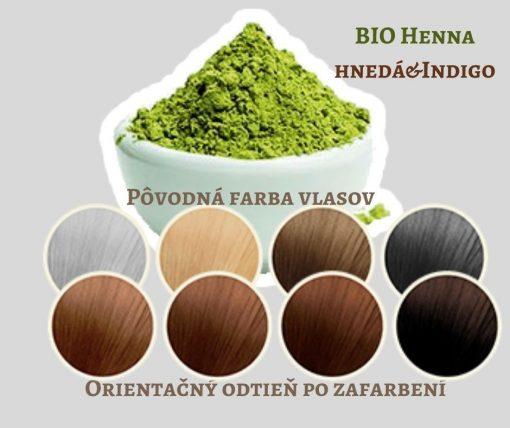 BIO Henna hnedá s Indigom - 100% prírodná, vegánska kozmetika. Vlasy vyživuje a ošetruje, lepšie použiť práve čistú hennu. BIO kozmetika