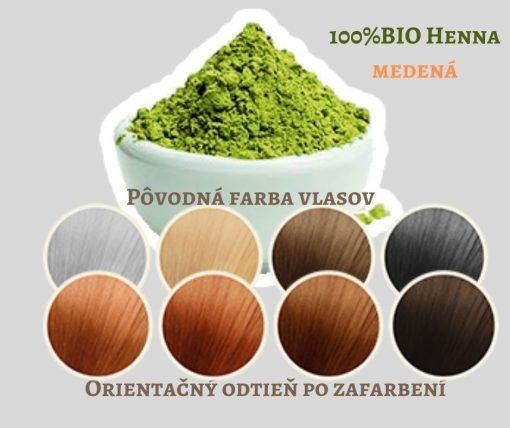 BIO Henna medená - 100% prírodná, vegánska kozmetika. Vlasy vyživuje a ošetruje, vždy je lepšie použiť práve čistú hennu. BIO kozmetika