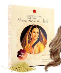 BIO Henna svetlo hnedá - 100% prírodná, vegánska kozmetika. Vlasy vyživuje, lepšie použiť práve čistú hennu. BIO vlasová kozmetika