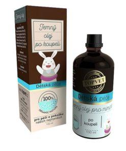 Jemný olej po kúpeli pre bábätká na masáž bruška. Bez ropných derivátov