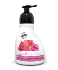 Hodvábna sprchová pena RUŽA damascénska s arganovým olejom. Prírodná kozmetika na telo so zvodnou vôňou a vyživujúcimi látkami