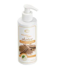 ŠKORICA masážne mlieko proti celulitíde a strií. Používame najmä v miestach výskytu tzv. pomarančovej kože. Prírodný produkt so silicami