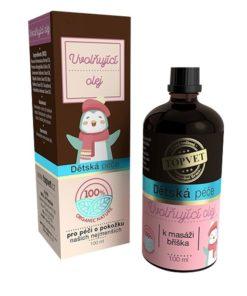 Uvoľňujúci olej pre bábätká na masáž bruška pri nafukovaní