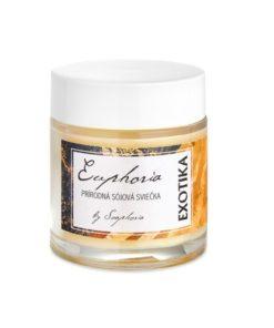 EXOTIKA prírodná sójová sviečka - rastlinná sviečka. Prírodná rastlinná vonná sviečka. Lahodne sladká vôňa exotickej vanilky a kokosového oleja
