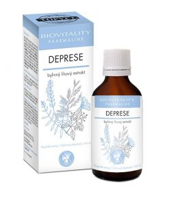 DEPRESIA tinktúra pri psychickej nepohode, pri nervozite, úzkosti a podporu pamäte. Obsahuje trezalku, ginko, sladké drievko, rozchodnicu. Výživový doplnok